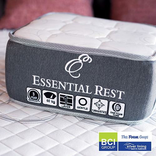 Family Furniture   Silver Lining Essential Rest Mattress + Base   Various Sizes - Single/ Three Quarter/ Double/ Queen/ King Size Mattress